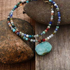Boho Necklace, Choker Necklace, Mix Natural Stone Beads, Pendant
