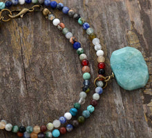 Load image into Gallery viewer, Boho Necklace, Choker Necklace, Mix Natural Stone Beads, Pendant