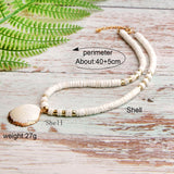 Boho Necklace, Natural Shell Cowrie in White
