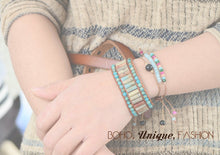 Load image into Gallery viewer, Boho Bracelet, Leather  Wrap Bracelet, Tube Natural Stones, 4 Colors