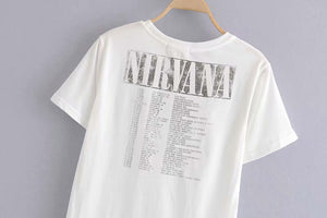 Boho Tee, Vintage T Shirt, Nirvana in White