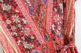 Maxi Dress, Sundress,  Wrap Dress, Country Girl Floral in Red