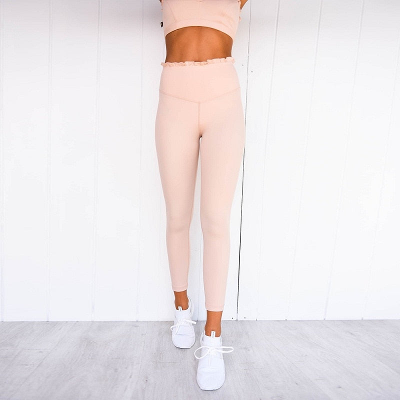 Boho Yoga Set, Printed Workout Set Top and Legging, Sweet Ruffle Pink Milk
