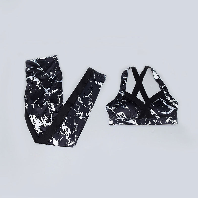 Boho Yoga Set, Printed Workout Set Top and Legging, Black Bra Marble