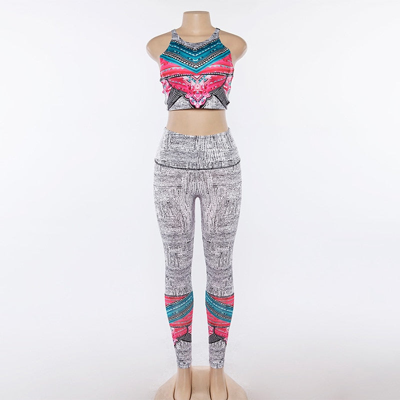 Boho Yoga Set, Printed Top and Leggings, Green and Pink Tribal Aztec