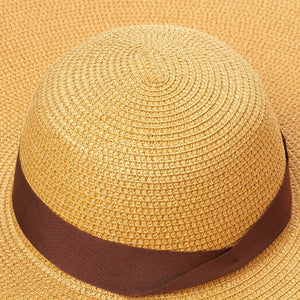 Boho Hat, Sun Hat, Beach Hat, Extra Large Wide Brim, Straw Hat, Ribbon, 3 colors (Soft, 30 cm)