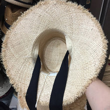 Load image into Gallery viewer, Boho Hat, Sun Hat, Beach Hat, Fringed Wide Brim Raffia Straw Hat, Ribbon
