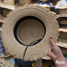 Load image into Gallery viewer, Boho Hat, Sun Hat, Beach Hat, Friged Wide Brim Straw Hat, Sweet