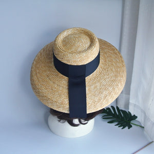 Boho Hat, Straw Hat, Floppy Vintage Hat, Bow