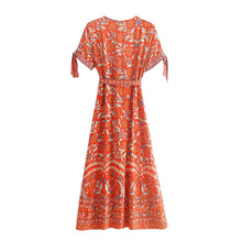 Load image into Gallery viewer, Midi Dress, Boho Dress, Wrap Dress, Marigold in Orange