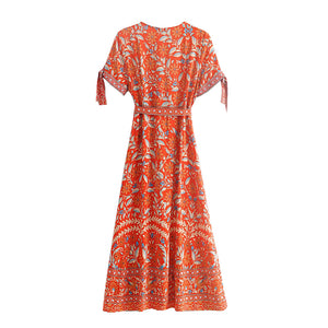 Midi Dress, Boho Dress, Wrap Dress, Marigold in Orange