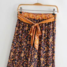Load image into Gallery viewer, Boho Pant, Palazzo Pant, Wild Leg Pant, Wild Floral Jasmine in Navy