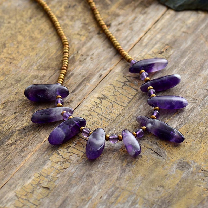 Boho Necklace, Choker Necklace, Amethysts, Natural Stone Beads, Seeds