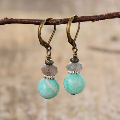 Boho Earrings, Dangle Earrings, Amazonite and Labradorite