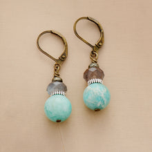 Load image into Gallery viewer, Boho Earrings, Dangle Earrings, Amazonite and Labradorite