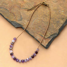 Load image into Gallery viewer, Boho Necklace, Choker Necklace, Amethysts, Natural Stone, Seeds