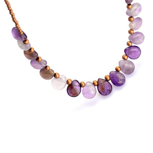 Boho Necklace, Choker Necklace, Amethysts, Natural Stone, Seeds