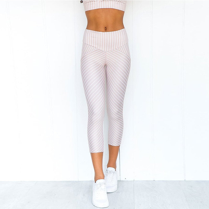 Boho Yoga Set, Printed Workout Set Top and Legging, Rose Gold Pink Stripe