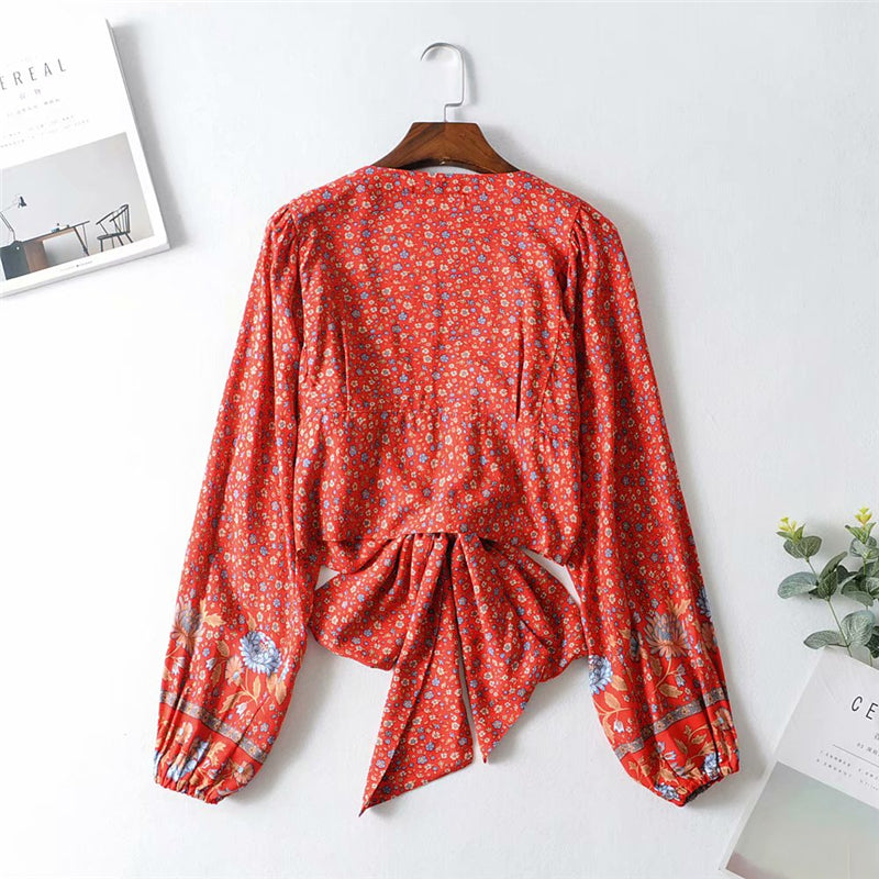 Boho Blouse, Wild Floral Heather in Red