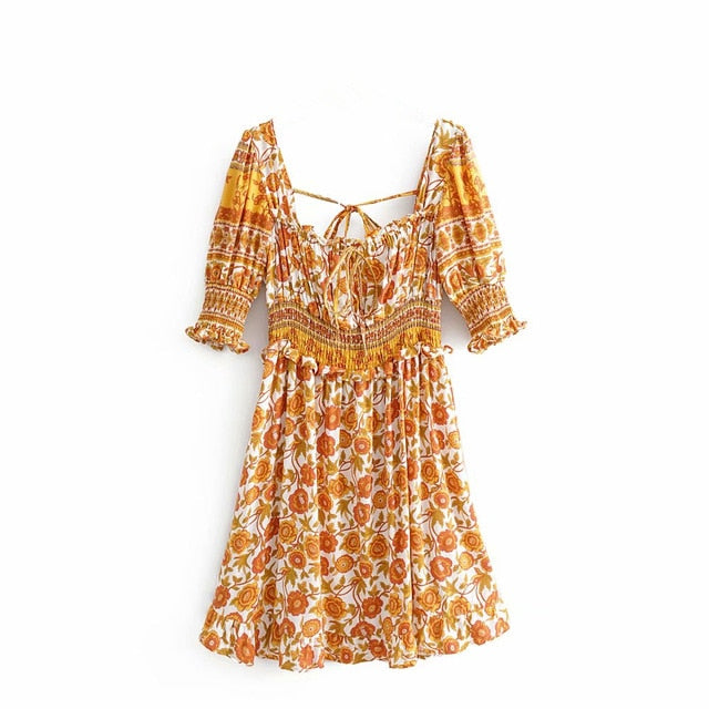 Mini Dress, Boho Dress, Sundress, Wild Floral Daffodil in Saffron Yellow