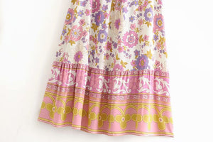 Boho Skirt, Maxi Skirt, Buttercup Floral in Crepe