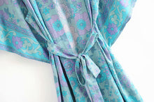 Load image into Gallery viewer, Boho Robe, Kimono Robe, Floral in Cerulean
