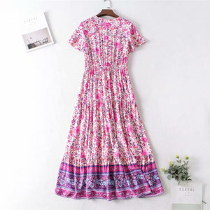 Maxi Dress, Boho Dress, Fresh Fuchsia