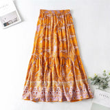 Boho Skirt, Maxi Skirt, Wild Floral in Indian Mustard