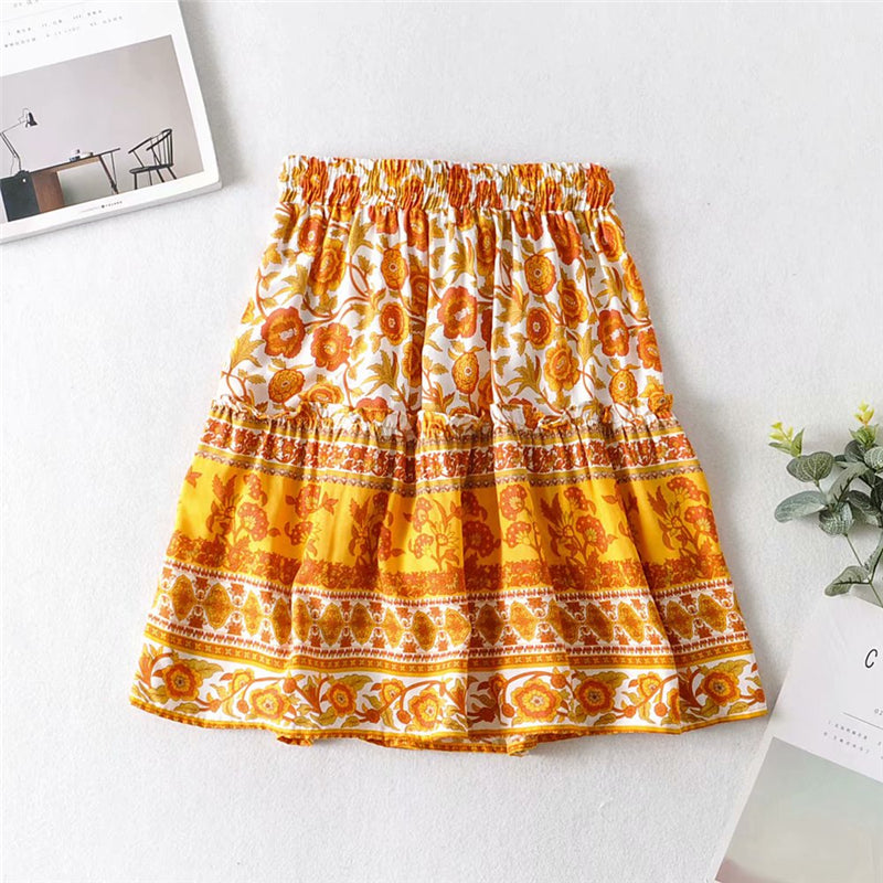 Boho Skirt, Mini Skirt, Wild Floral Daffodil in Saffron Yellow