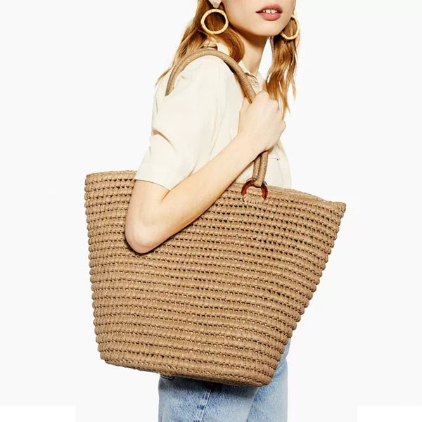 Boho Bag, Woven  Straw Rope Tote Bag, Patrin