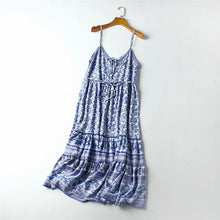 Load image into Gallery viewer, Midi Dress, Boho Dress, Strappy Camilla in Blue Bird