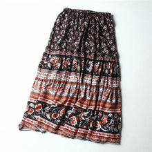 Load image into Gallery viewer, Boho Skirt, Midi Skirt, Camalia in Coral, Blue and Midnight