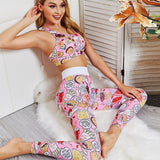 Boho Yoga Set, Printed Workout Set Top and Legging, Pink Candy