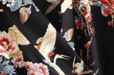Boho Jumpsuit, Romper, Kimono Playsuit, Swallow Wild Floral in Black