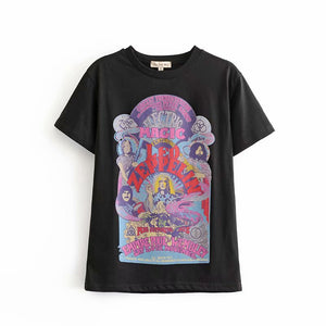 Boho Tee, Vintage T Shirt, Led Zep plin Magic in Black