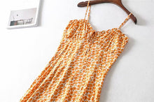 Load image into Gallery viewer, Midi Dress, Boho Dress, Strappy, Wild Floral Daisy in Saffron