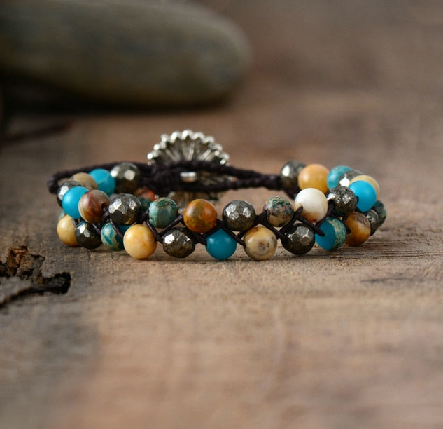Boho Bracelet, Leather Wrap Bracelet, Yoga, Friendship Bracelet, Natural Stones