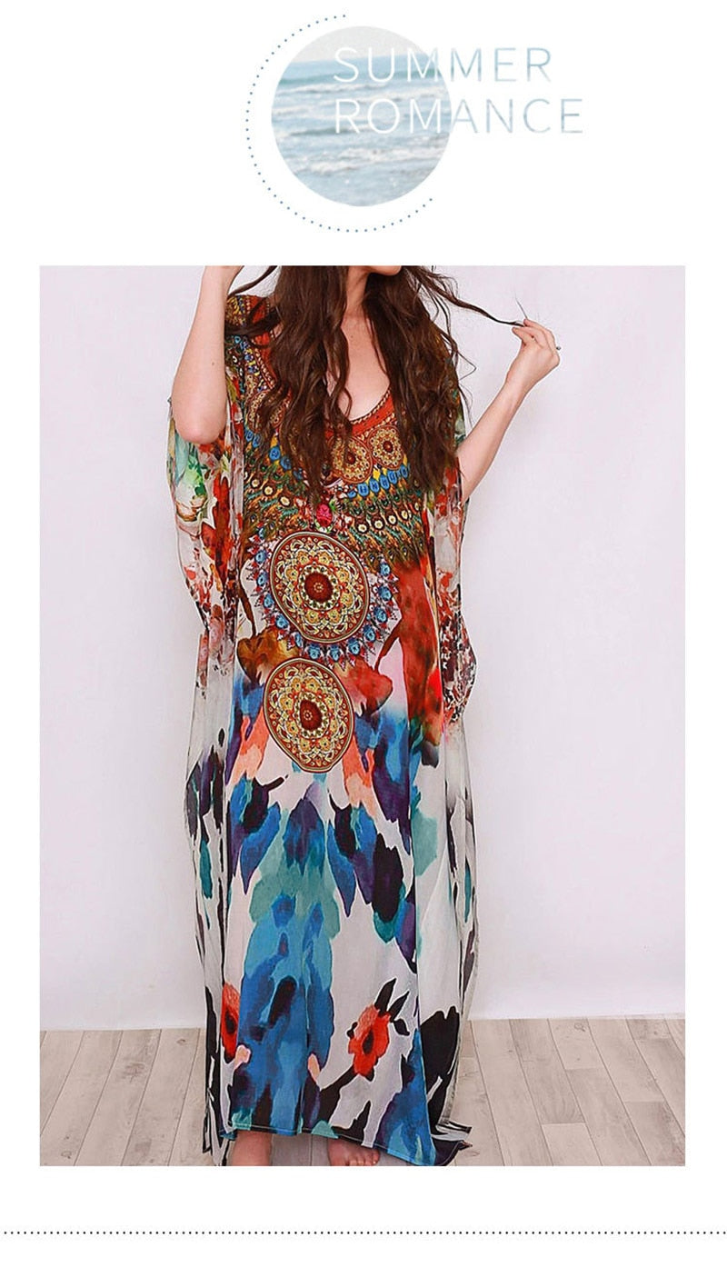 Beach Dress, Cover Up, Kaftan Dress, Dream Catcher in Red Blue