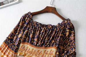 Boho Blouse, Crop Top, Wild Floral Jasmine in Navy