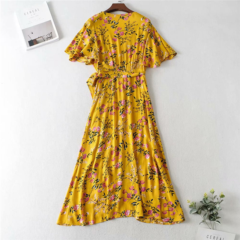 Mini Dress, Boho Dress, Sundress, Wild Floral in Ducky