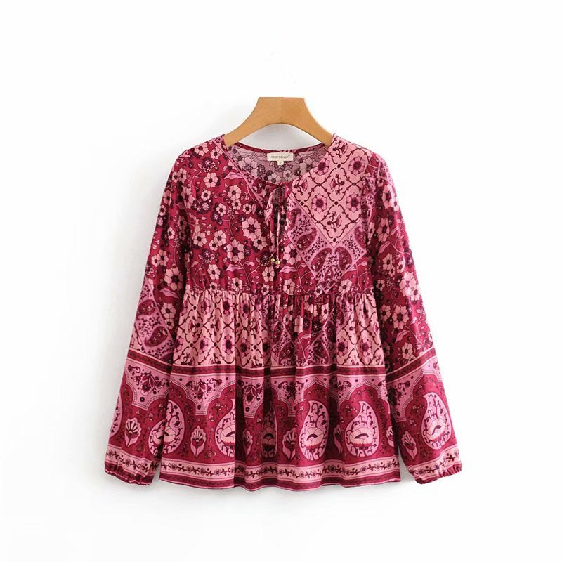 Boho Blouse in Bark Cherry Wood