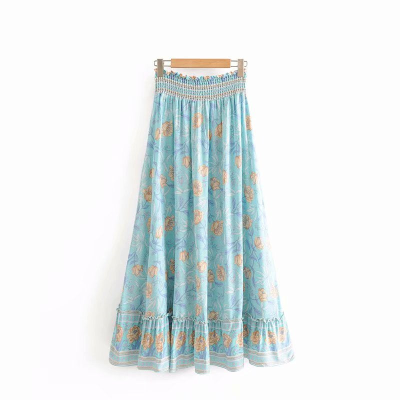 Boho Skirt, Midi Skirt, Wild Rose  in Maya Blue