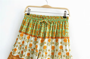 Boho Pant, Short, Sunflower in Green