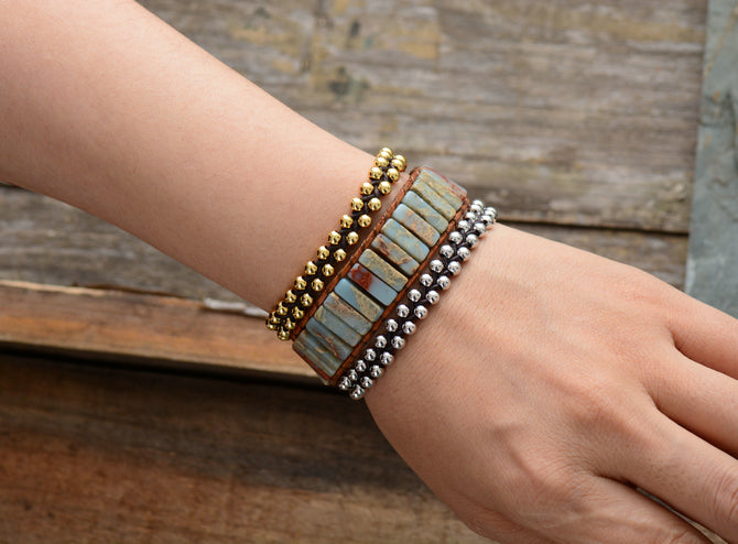 Boho Bracelet, Leather Wrap Bracelet, Tube Natural Blue Stone