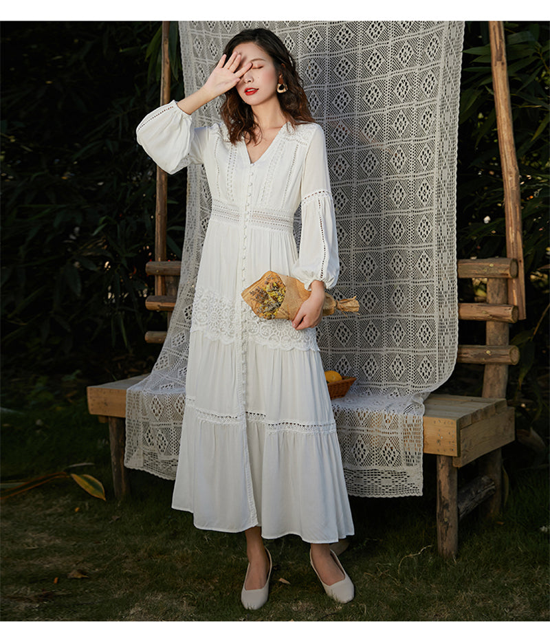 Midi Dress, Boho Dress,  White Cloud