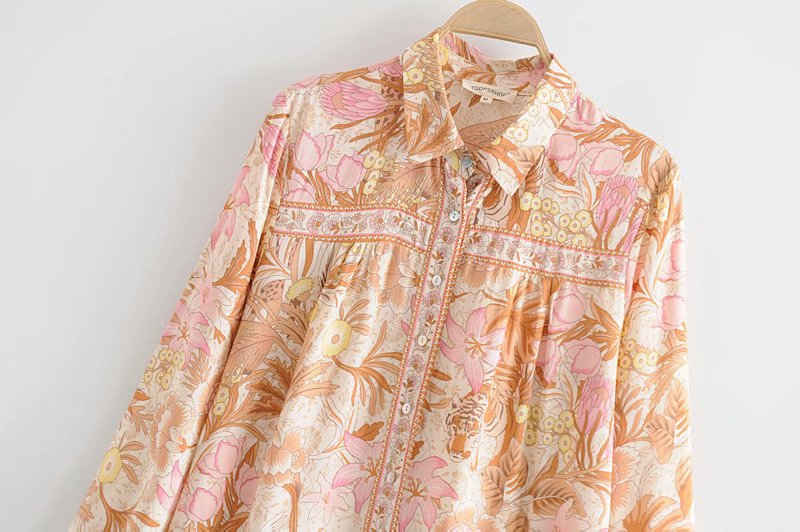 Boho Blouse, Tropical in Pink Pastel