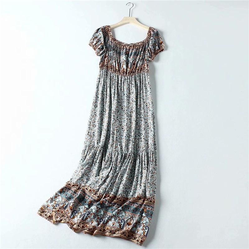 Maxi Dress, Boho Dress, Pristine, Off Shoulder in River Blue and Sand