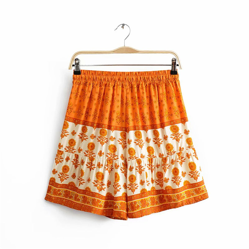Boho Pant, Short,  Sunflower in Orange