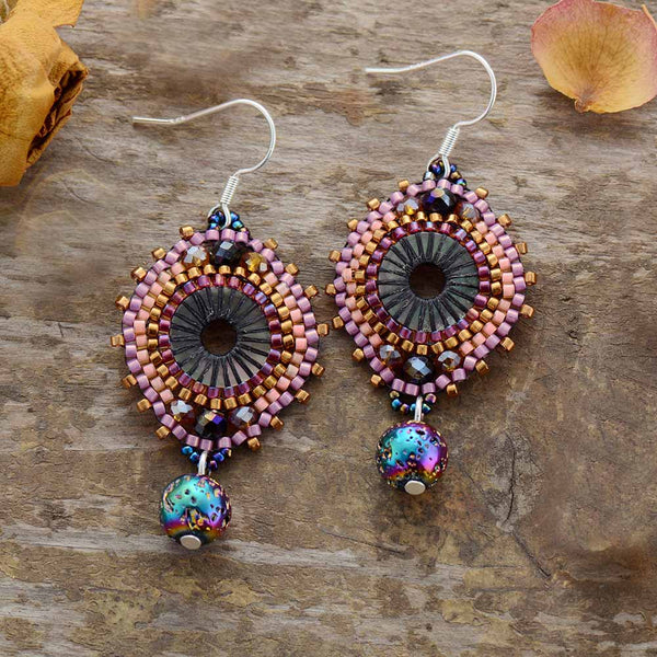 Boho Earrings, Dangle Earrings, Crystal Beads Lava Purple Stone