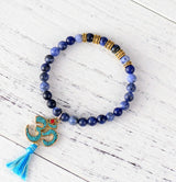 Boho Bracelet, Stretch Yoga Mala Bracelet, Natural Stone Tibetan OM 6 Colors